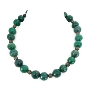 Vintage faceted large emerald bead necklace